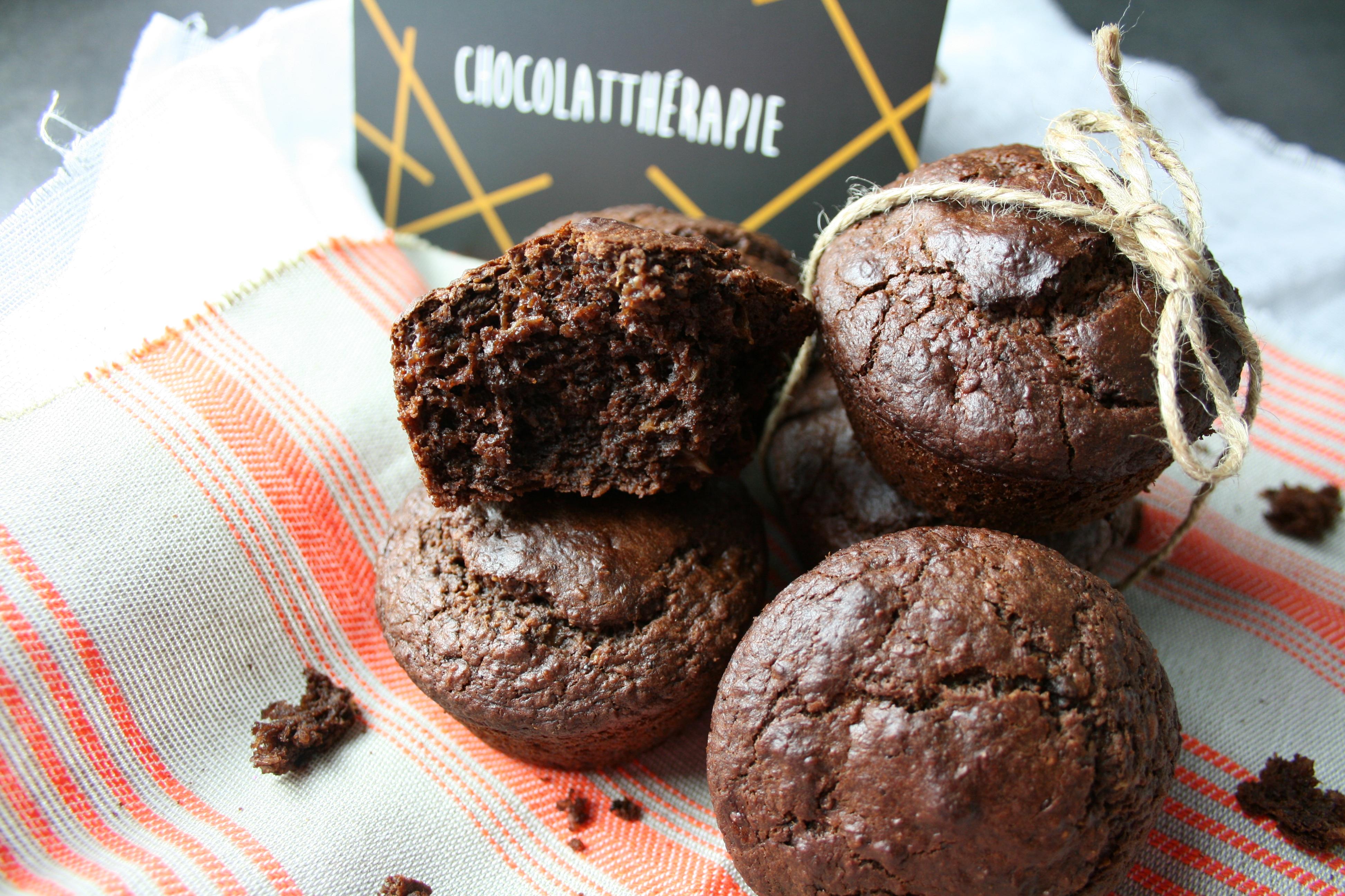 Muffins au chocolat sans sucre, sans beurre ajoutés et sans oeufs